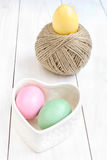 Easter egg and  ball of hemp rope Stock Photo