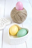 Easter egg and  ball of hemp rope Stock Image