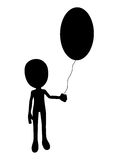 Easter Egg Balloon. Silhouetted outline of a cartoon figure with an Easter egg balloon Royalty Free Stock Photos