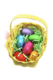 Easter Egg in Bamboo Basket Royalty Free Stock Images