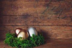 Easter egg banner stock photo