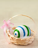Easter egg in basket. Painted easter egg in a basket with ribbon Stock Images