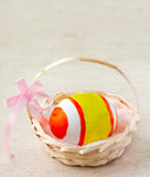 Easter egg in basket. Painted easter egg in a basket with ribbon Royalty Free Stock Photography