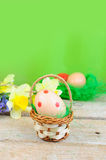 Easter egg in basket Royalty Free Stock Image