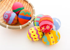 Easter egg in basket Stock Photography