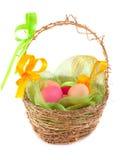 Easter egg in basket Stock Images