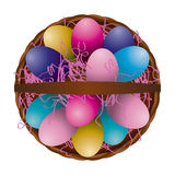 Easter Egg Basket Aerial View Illustration. A unique aerial view of a full easter egg basket with colorful pink grass and decorated eggs. Vector EPS 10 available royalty free illustration