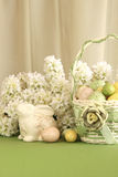 Easter Egg Basket with Bunny Stock Images