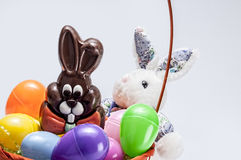 Easter egg basket,bunny,chocolate royalty free stock photos