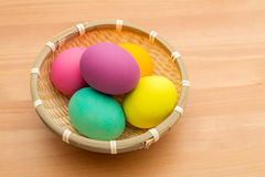 Easter egg in basket Stock Photo