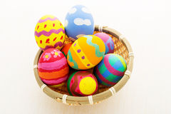 Easter egg in basket Stock Images