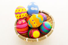 Easter egg in basket Stock Photos