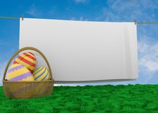 Easter egg basket with clothline Royalty Free Stock Image
