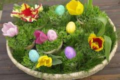 Easter egg  basket Stock Photos