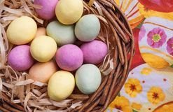 Easter Egg in Basket Stock Photo