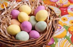 Easter Egg in Basket Royalty Free Stock Images