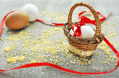 Easter egg in a basket, Easter concept Royalty Free Stock Photo