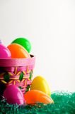 Easter egg basket with eggs royalty free stock photography