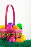 Easter egg basket with eggs Stock Image
