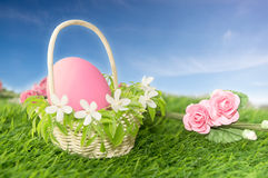 Easter egg in basket with flowers Royalty Free Stock Photos
