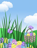 Easter egg basket hunt background garden illustration with clouds butterflies long green grass hills blue sky with copy space stock images