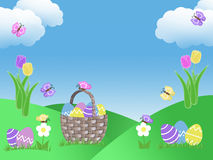 Easter egg basket hunt background garden illustration with clouds tulip flowers green grass hills blue sky and butterflies with co Royalty Free Stock Photography
