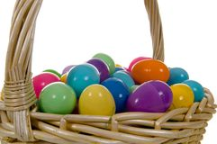 Easter Egg Basket with multicolored Eggs Royalty Free Stock Photos