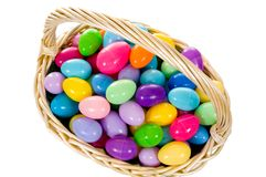 Easter Egg Basket with multicolored Eggs stock photography