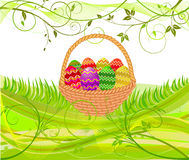 Easter egg in basket - vector royalty free stock photos