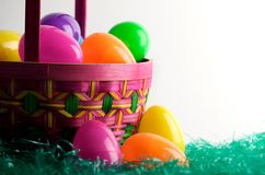 Easter Egg Basket With Eggs Royalty Free Stock Images