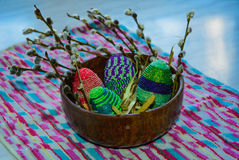 Easter egg. Easter.egg from the beads. basket for Easter. needlework Royalty Free Stock Image