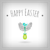Easter egg bird nest. Easter egg and bird nest card, vector ornaments, decorative elements graphic design Royalty Free Stock Images
