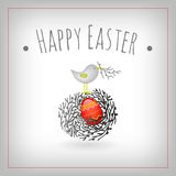 Easter egg bird nest. Easter egg and bird nest card,  ornaments, decorative elements graphic design Stock Photography