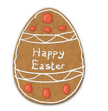 Easter egg biscuit cookie. Illustration of an Easter egg cookie or biscuit with Happy Easter written in icing stock illustration