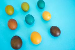 Easter egg on blue royalty free stock images