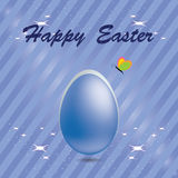Easter egg in a blue striped background with butt Stock Image