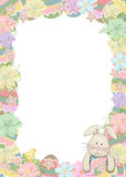 Easter egg border with bunny Royalty Free Stock Photos