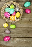 Easter egg border on wood Stock Images