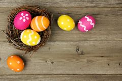Easter egg border on wood Royalty Free Stock Photos