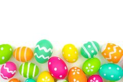Easter egg bottom border over white Royalty Free Stock Photos