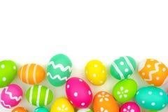Easter egg bottom border over white Royalty Free Stock Photos