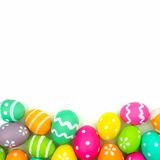 Easter egg bottom border over white Royalty Free Stock Photo