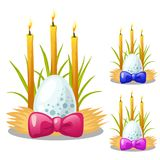 Easter egg with bow and burning candles decorated with grass and straw. Symbol and decoration for holiday. Vector Stock Images