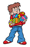 Easter Egg boy. Cartoon illustration of a boy with lots of Easter Eggs royalty free illustration