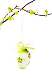 Easter egg on a branch with leaves Stock Photos