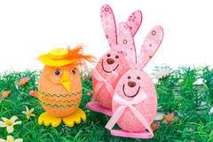 Easter egg and bunnies decoration Royalty Free Stock Photos