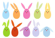 Easter egg bunnies, vector. Set of colorful easter egg bunnies, vector illustration Royalty Free Stock Photo