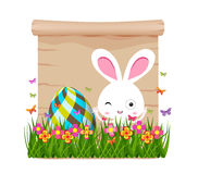 Easter egg and bunny of spring with paper Royalty Free Stock Image