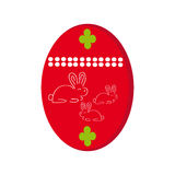 Easter egg with bunny on white background Royalty Free Stock Photos