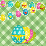 Easter egg bunting over crossed stripes background Royalty Free Stock Photos